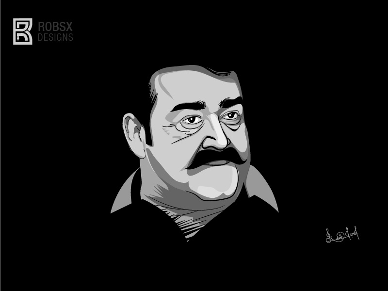 Mohanlal illustration by RobinXavier on Dribbble