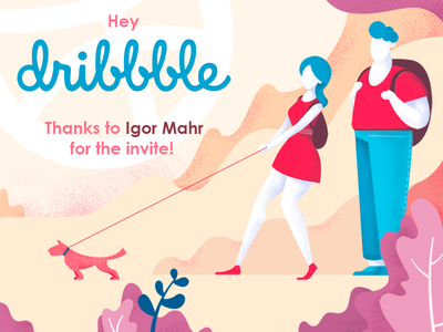 Hello Dribbble! 2d invite illustration first shot