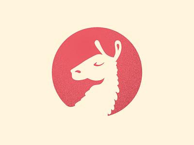da, lama pink negative noise lama animal logo 2d