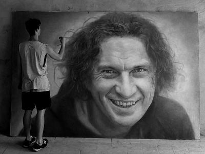 K U Z M A   portrait process behance man black and white art photorealism pencil portrait