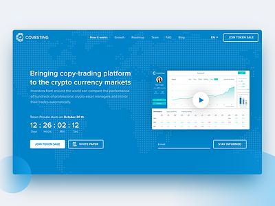 Covesting — Copy-trading platform ico web dashboard ux ui token design data crypto bitcoin