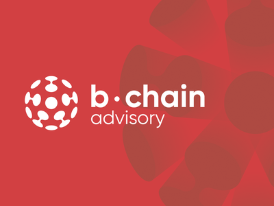 b-chain   logo & website company red sphere circle logo design crypto ico brandmark logo