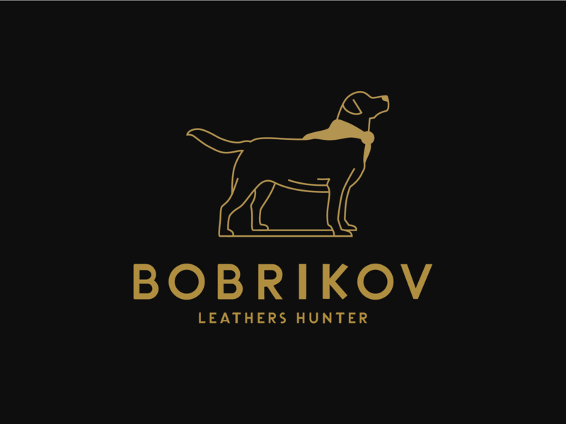 BOBRIKOV LOGO brown animal simple leather dog line logo