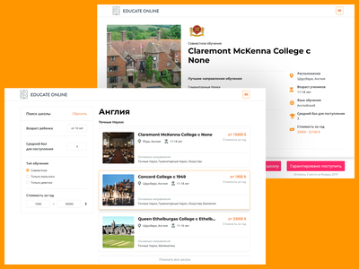 EDUCATE ONLINE - Search and Learn startup orange white clean minimal ui ux ui design search page education website web design web