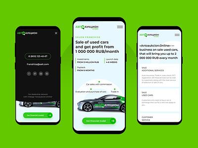 Autoaukcione – Mobile landing page minimal clean white car uiux landing page responsive adaptive design mobile