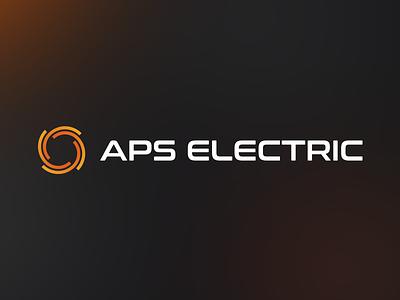APS ELECTRIC logo visiting cards icon flat logo design identity company illustration orange electric branding mark brand vector logo