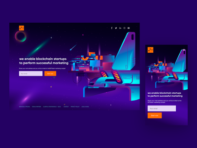 Space landing page design UFO START startup cyberpunk branding design blockchain minimal animation after effects illustraion vector ui welcome page onepage landing web space