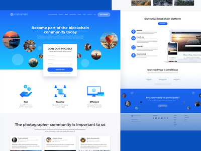 Inner page for Stock photography project ico bitcoin minimal startup blockchain vector website landing page design ui blue photostock crypto web landing