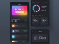 Mobile Crypto Wallet Skeuomorph | Dark Mode