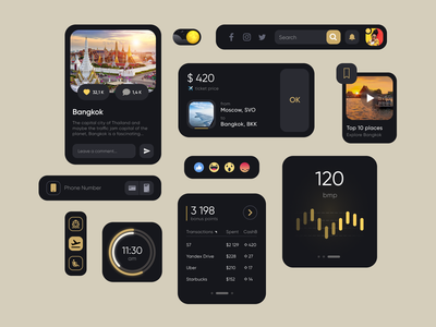UI Kit Dark theme watch os travel minimal ux design system app web clean user interface black dark figma design kit ui