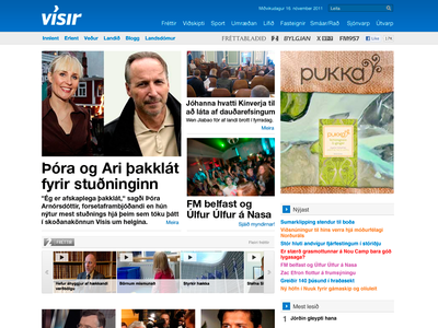 Vísir.is front page 2011 web design art direction