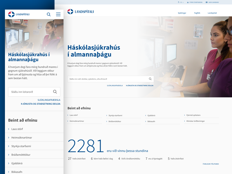 National University Hospital of Iceland web design ui healthcare design