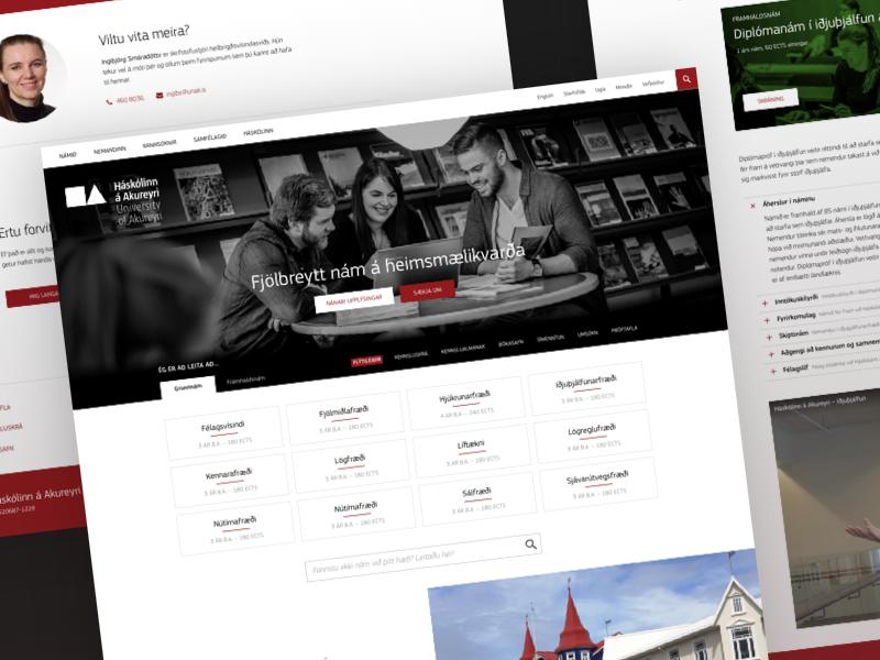 University of Akureyri web design ui education design