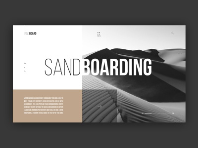 Sandboarding homepage minimal clean board website desktop web web  design typography ux ui design
