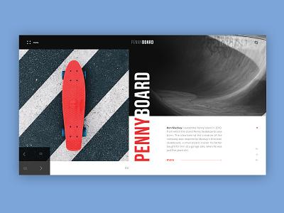 Penny Board minimal clean board webdesign typography ux ui web desktop sport design