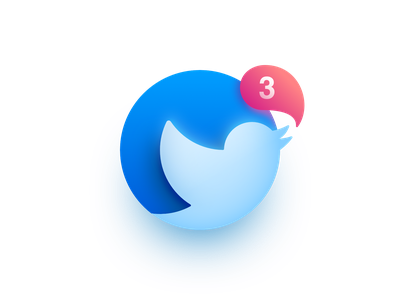 Twitter Notification Concept blue vector illustration mark notification affinity designer logo icon twitter