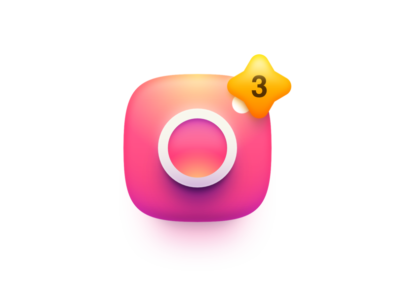 Instagram Notification Concept camera photo gradient madeinaffinity notification 3d vector illustration affinity designer logo icon