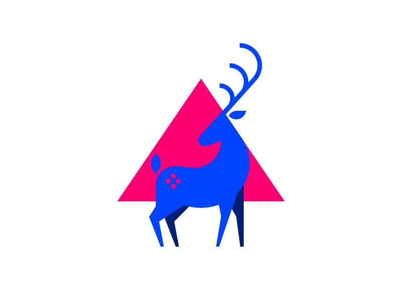 Deer illustration icon affinity designer affinity blue animal triangle horns deer