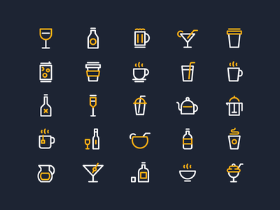 Drink Icons beer mug tea glass bottle cocktail cup wine coffee drinks line icons