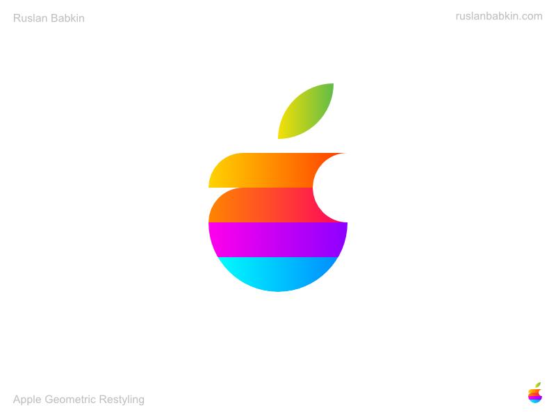 Apple Geometric Restyling redesign branding rebranding logotype logo restyling geometric apple