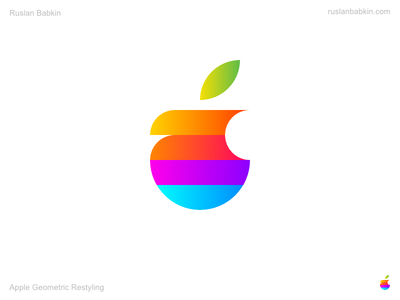 Apple Geometric Restyling redesign branding rebranding logotype logo restyling geometric apple