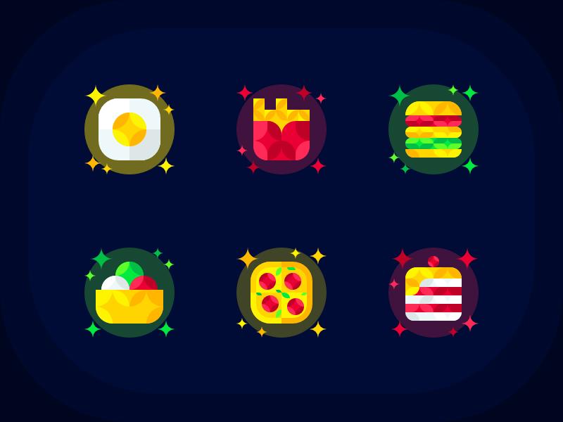 Food Icons geometric egg cake icecream pizza burger fastfood icons icon food