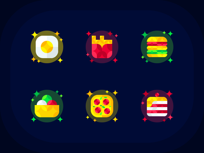 Food Icons geometric egg cake icecream pizza burger fastfood icons icon food