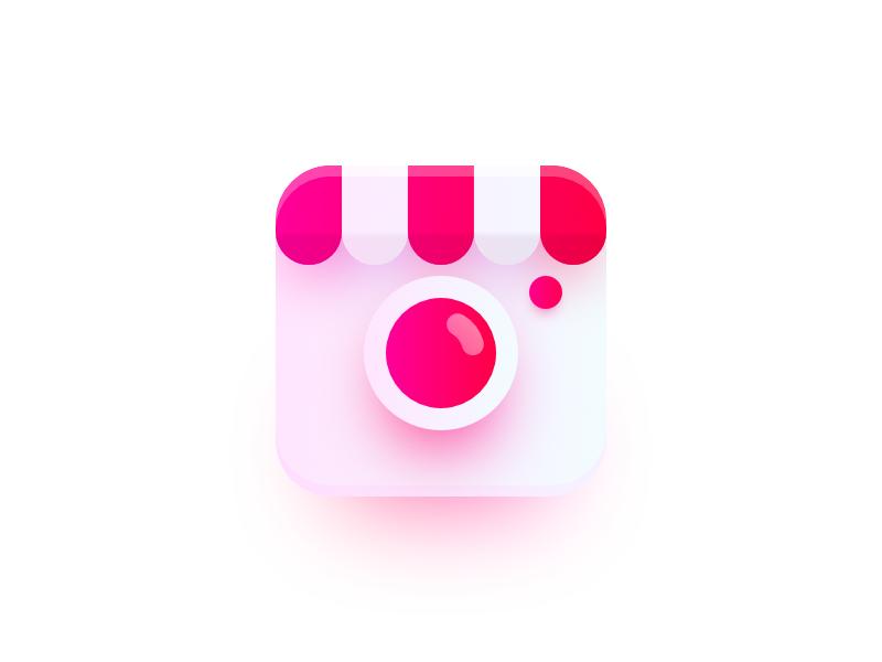Photo Market logo shadow color glow candy photo market shop app icon