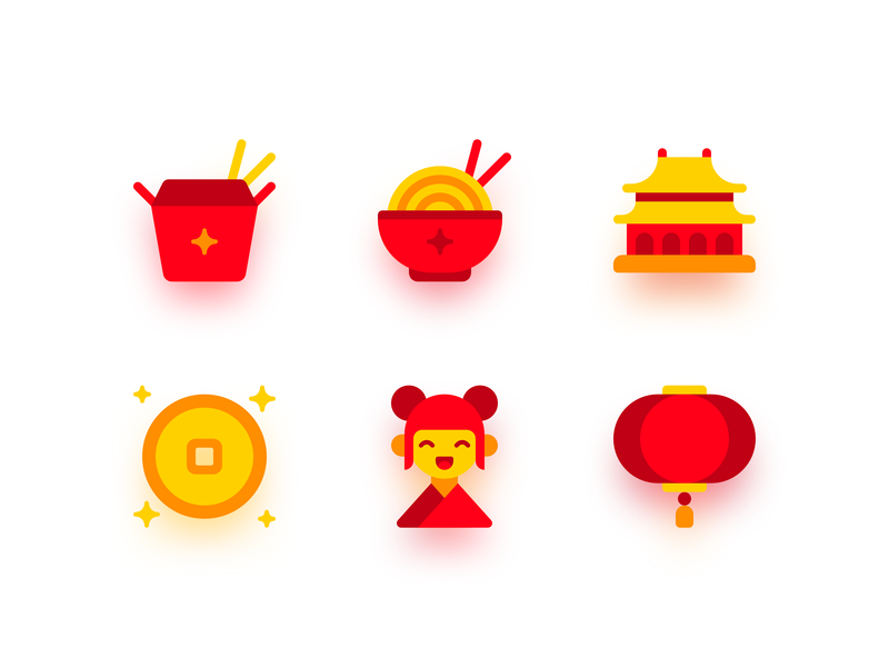 China lantern house coin food icons china