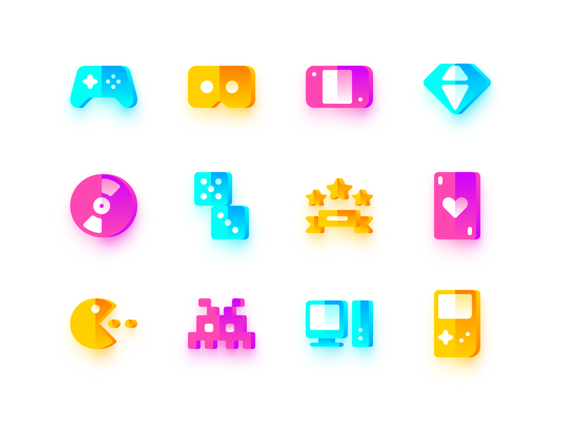 Gaming Icons affinity vector affinity designer icon gameboy pc invader pacman playing card achievement dice cd diamond nintendo switch virtual reality gamepad