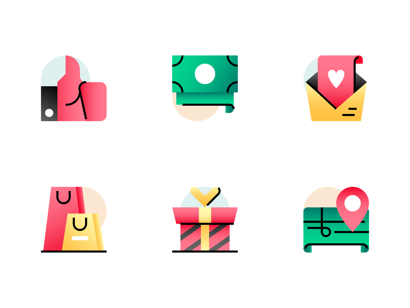 Icons madeinaffinity vector illustration affinity designer icons icon map gift shopping mail money like