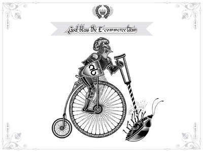 Corporate flag for E-commerce team сrutch illustration engraving vector bug penny-farthing penny-farthing bicycle cycle bicycle bike knight