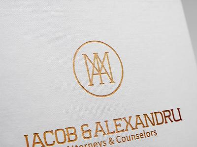 IAM MONOGRAM for IACOB Ana-Maria & ALEXANDRU Miruna lawyers minimal bronz gold uppercase slab serif typography monogram lawyer law