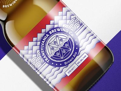Brown Ale label design for Transylvania Brewing Co.TM ale packaging label illustration typography transylvania monogram handmade craft beer brewery beer brown