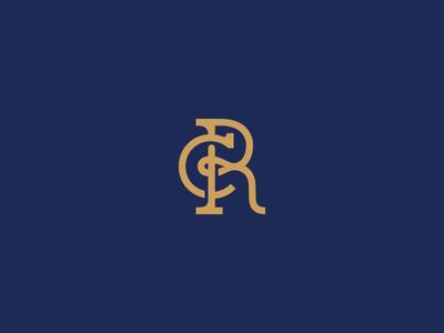 CR monogram for a dispute resolution lawyer design minimal blue royal blue gold logo monogram lawyer advocate