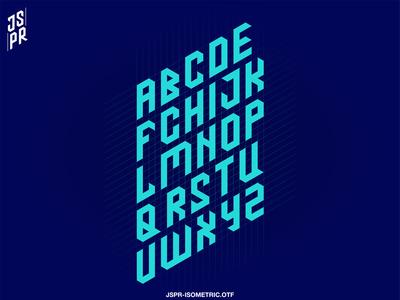 JSPR-ISOMETRIC logo branding flat font design typography illustrator isometric font