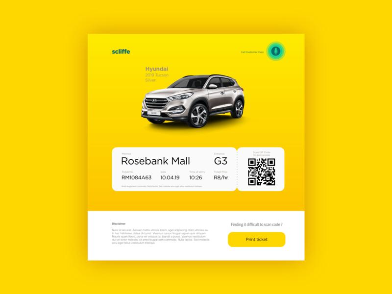 Scliffe - Digital Ticket Dispenser ux ui mobile ui design daily ui app adobe xd ticketing system design digital parking app