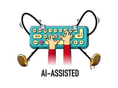 Intellicode assisted keyboard dev development artifical intelligence ai illustration