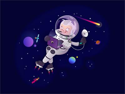 GitHub Codespaces Mona / Codespacetocat cat planet meteor astronaut space mona dev development codespace github illustration