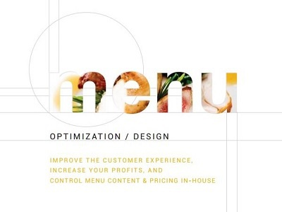 Menu Optimization and Design services page graphic experience customer content format type layout design menu