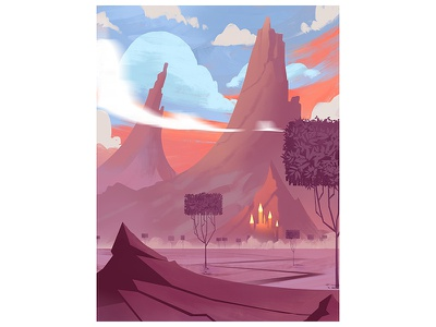 Castle by the Pointy Mountain bg art animation illustration