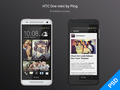 HTC One Mini PSD android htc psd phone mockups resources
