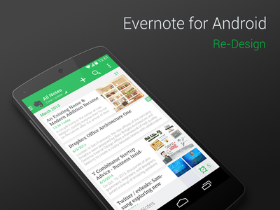 Evernote Redesign android evernote redesign
