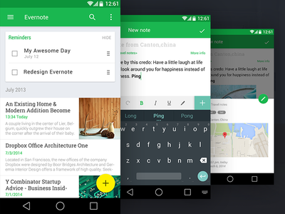 Evernote Redesign , Material Design material evernote design android