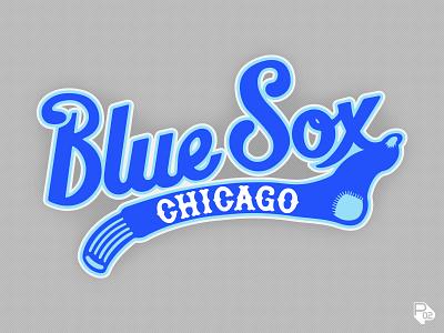 Blue Sox Script logo hand lettering lettering baseball sports identity vector illustration illustrator branding