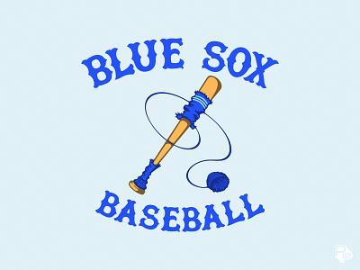Blue Sox Secondary procreate chicago typography hand lettering graphic design baseball sports identity logo vector illustration illustrator