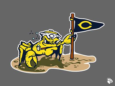Crabby and Scrappy character mascot sand crab texas baseball identity sports logo vector illustration illustrator branding