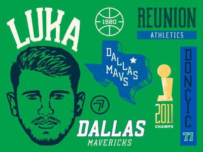 Luka Doncic and the Dallas Mavericks basketball sports design branding illustration mavericks texas dallas sports nba