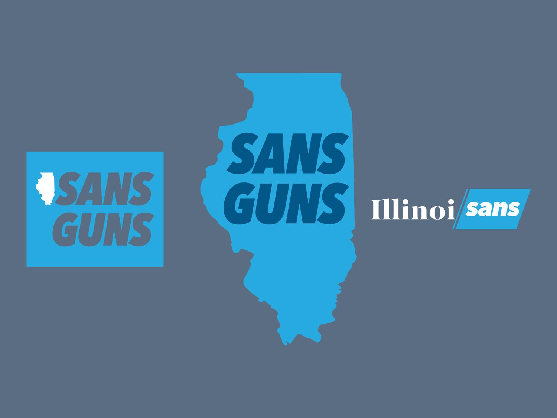 Illinoisans Against Gun Violence sansguns illinoisans illinois pritzker violence guns typography graphic design illustration vector illustrator logo
