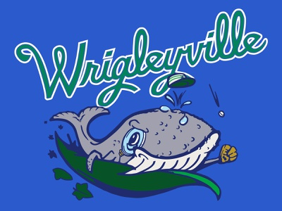 Wrigleyville Whales fantasy baseball wrigley field chicago mascot design mascot hand lettering lettering graphic design illustration baseball vector sports logo illustrator branding